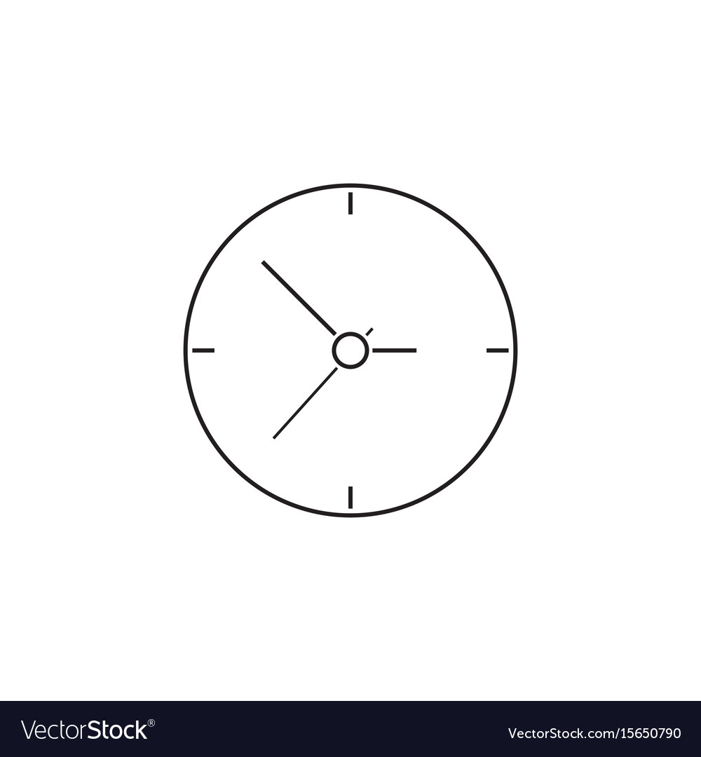 Clock thin line icon time outline vector image
