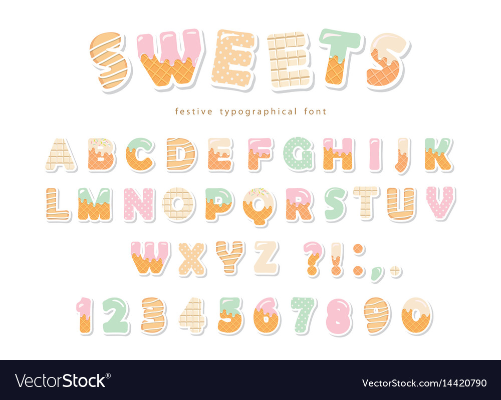 Sweets bakery font design funny latin paper vector image