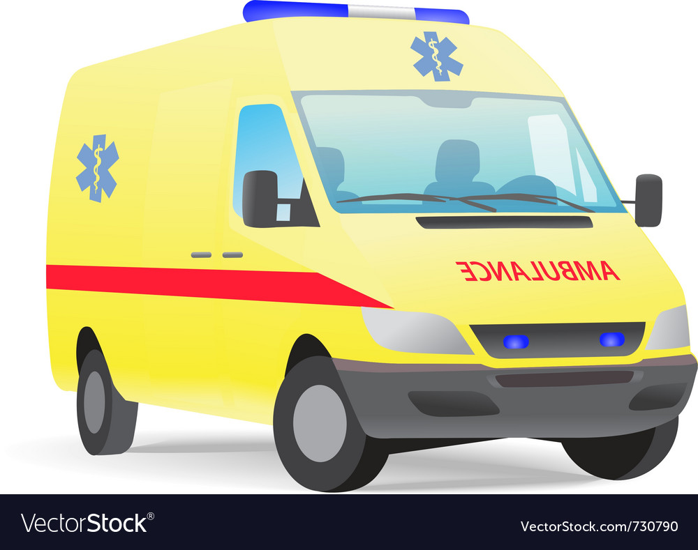 Yellow ambulance van with caduceus sign vector image