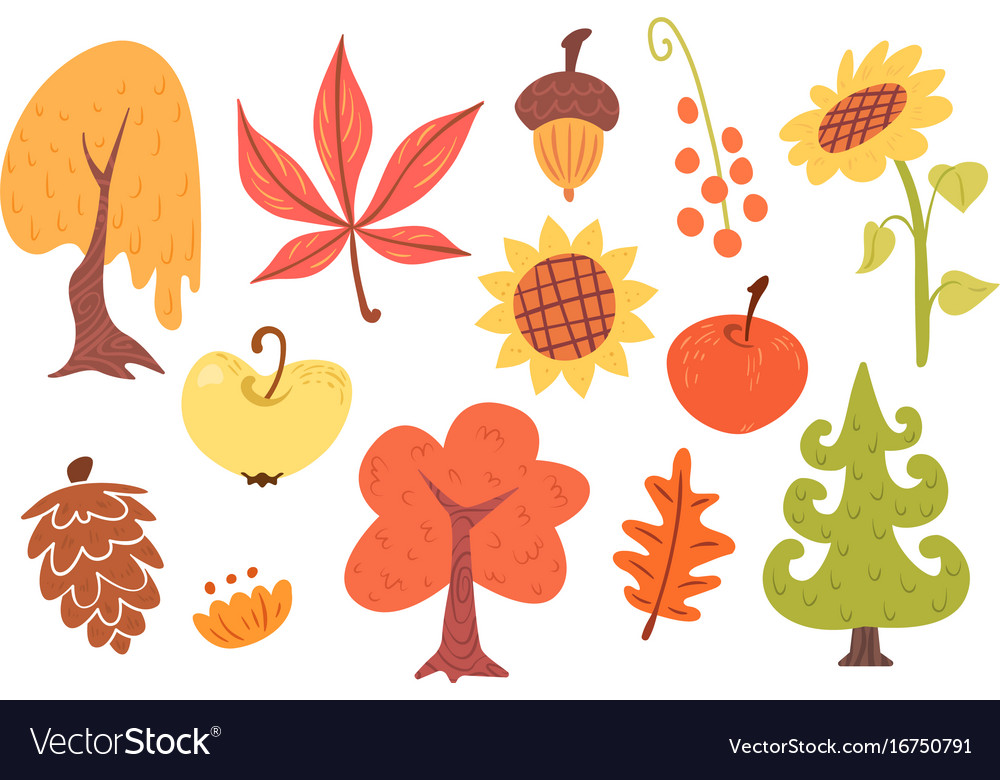 Autumn cartoon set of plants vector image