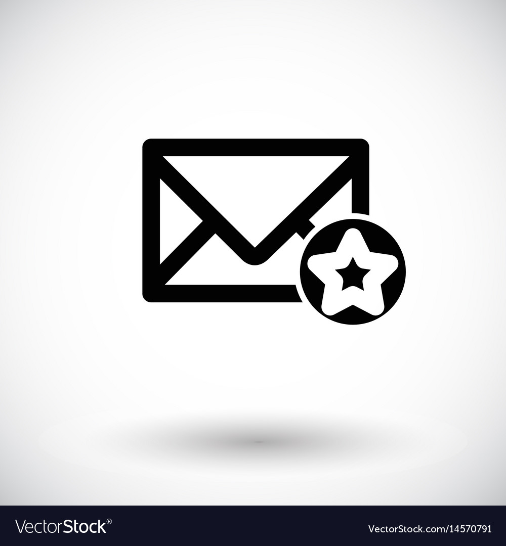 Mail icon envelope with star sign vector image
