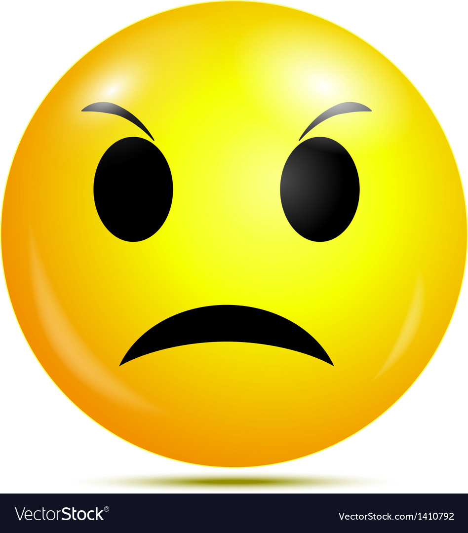 Angry smiley emoticon vector image