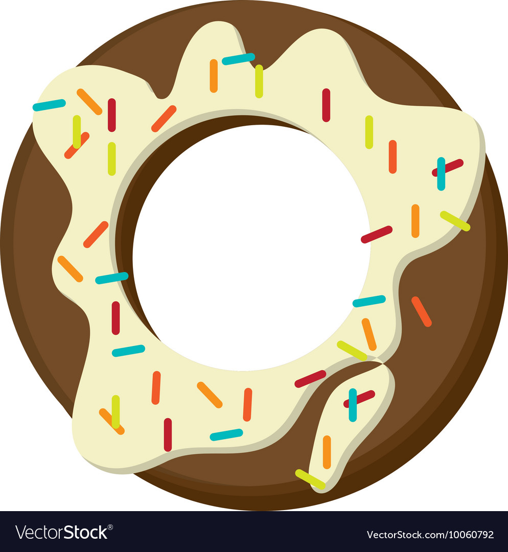 Donut with cream and sprinkles icon vector image