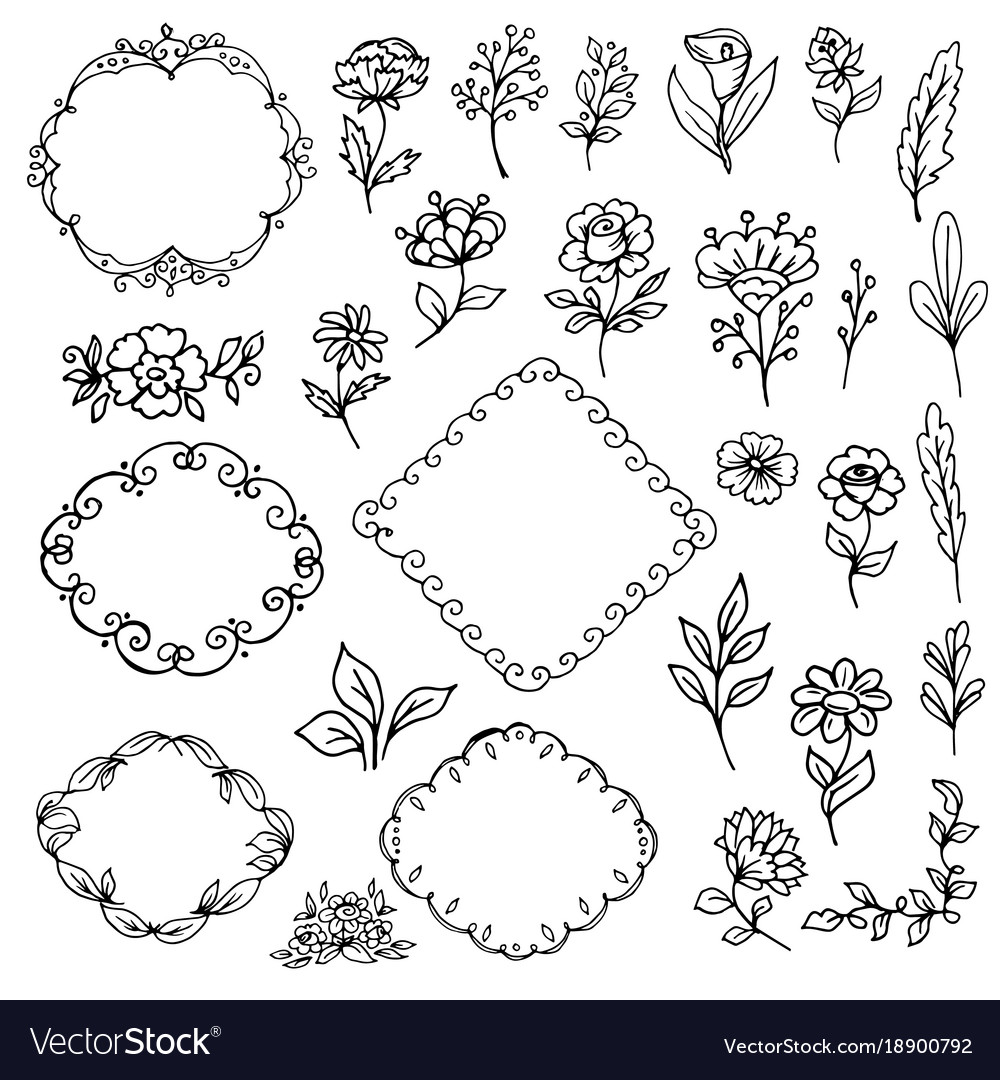 Flowers and leaves frame vector image