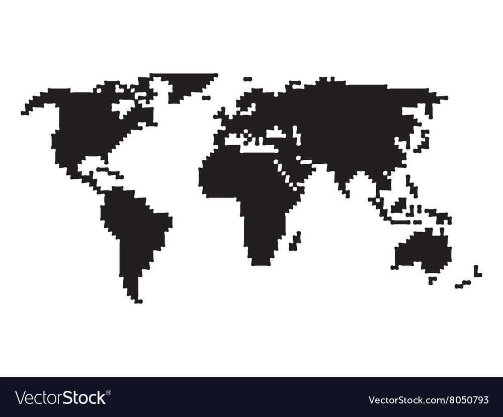 Pixelated world map royalty free vector image vectorstock pixelated world map vector image gumiabroncs Images