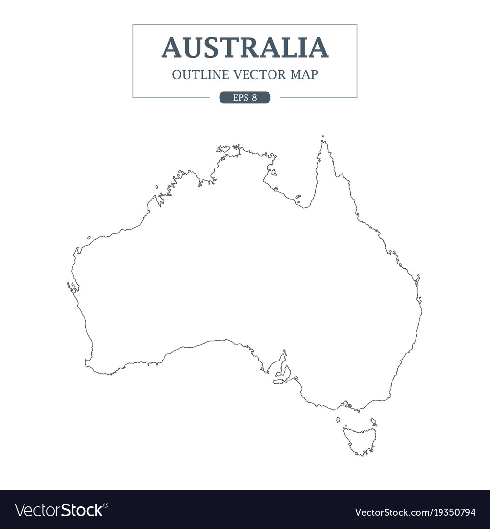 Australia map outline border on white background vector image australia map outline border on white background vector image gumiabroncs Images