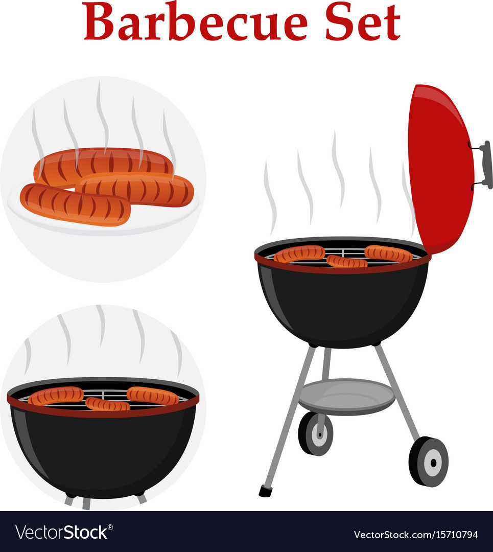 Barbecue set - grill station sausage fried meat vector image