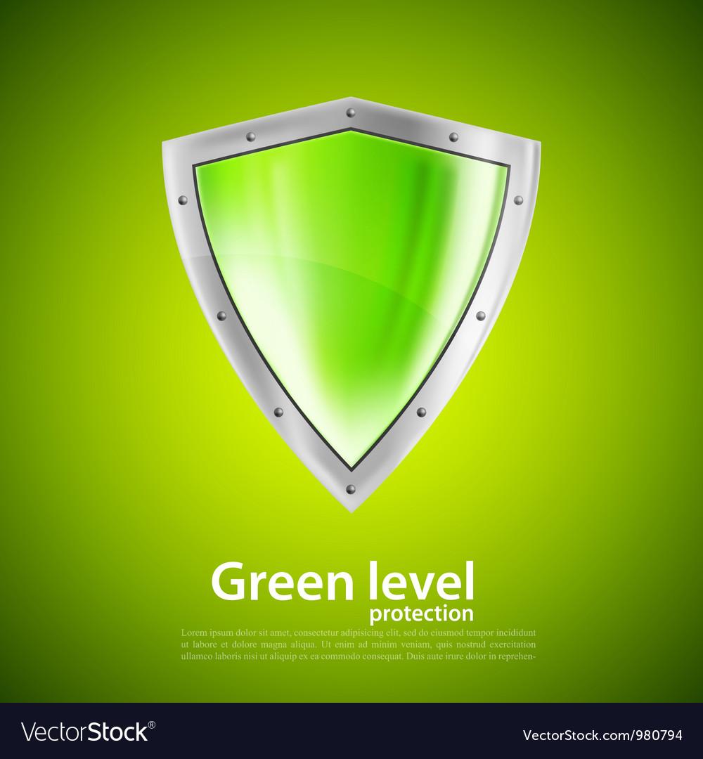 Green shield vector image