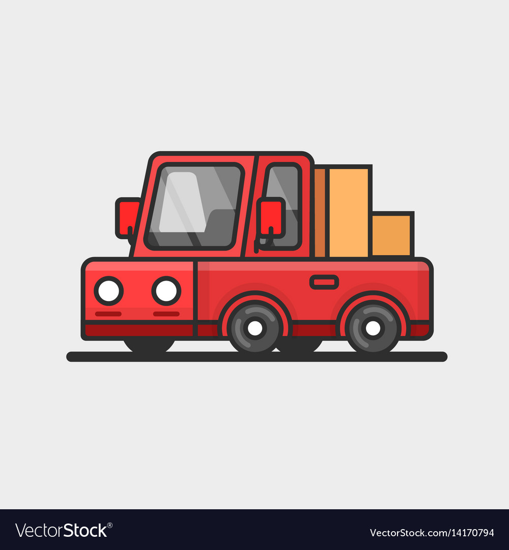 Modern red pickup car icon delivery concept flat vector image