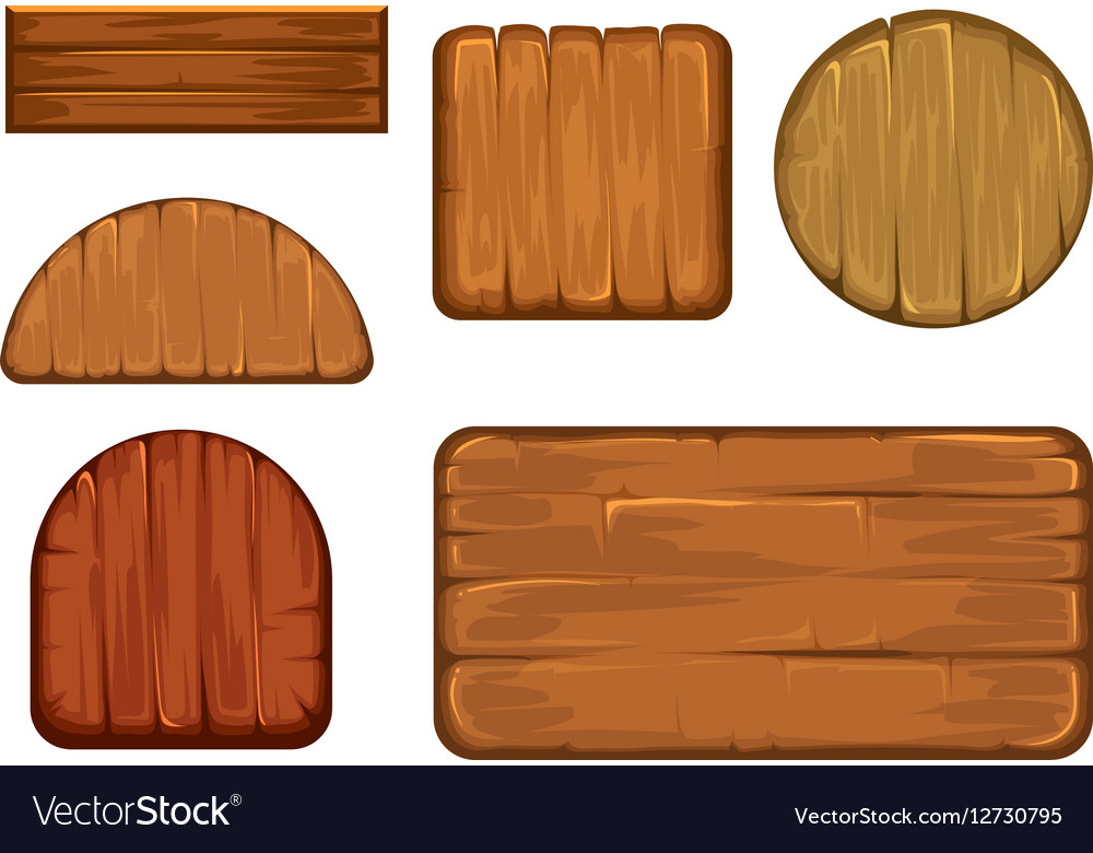 Wooden retro labels set Different shapes vector image