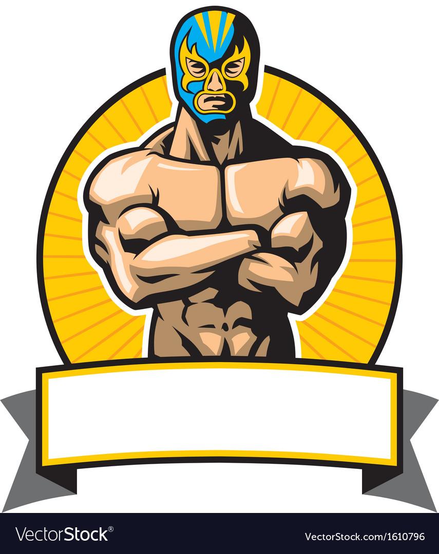 Mexican wrestler pose vector image