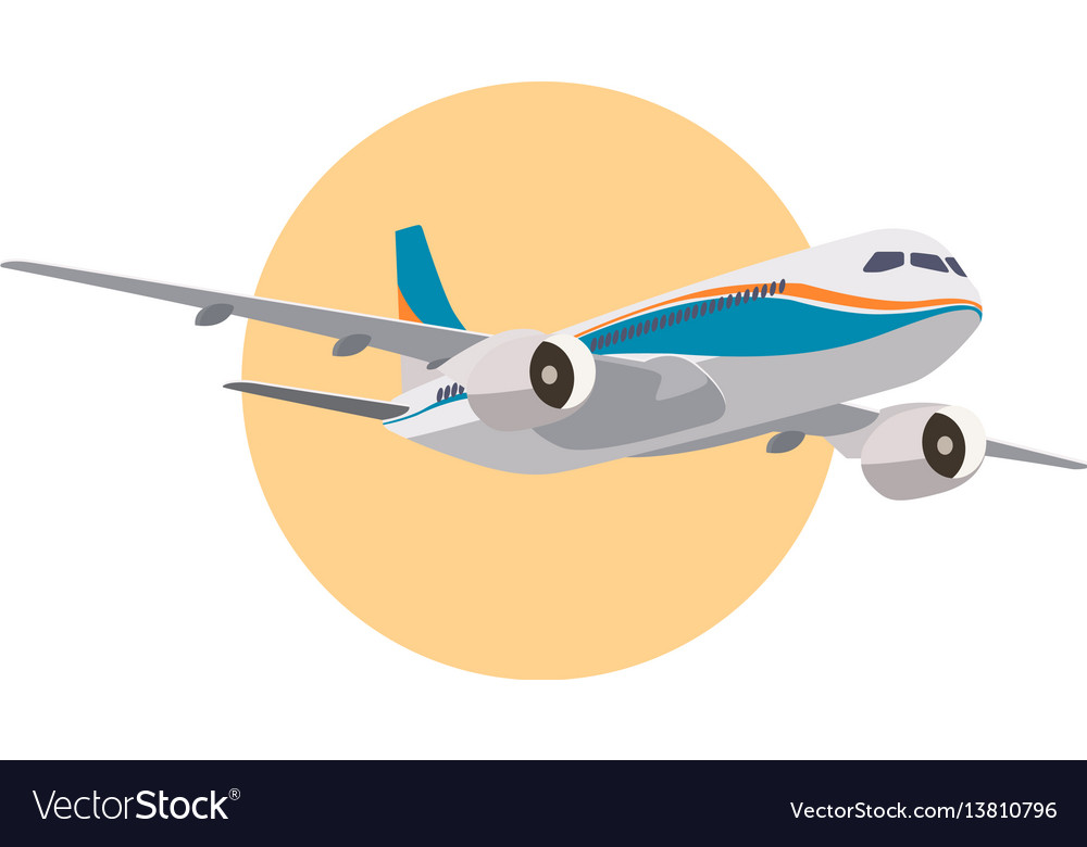 Realistic aircraft in passenger large airplane vector image