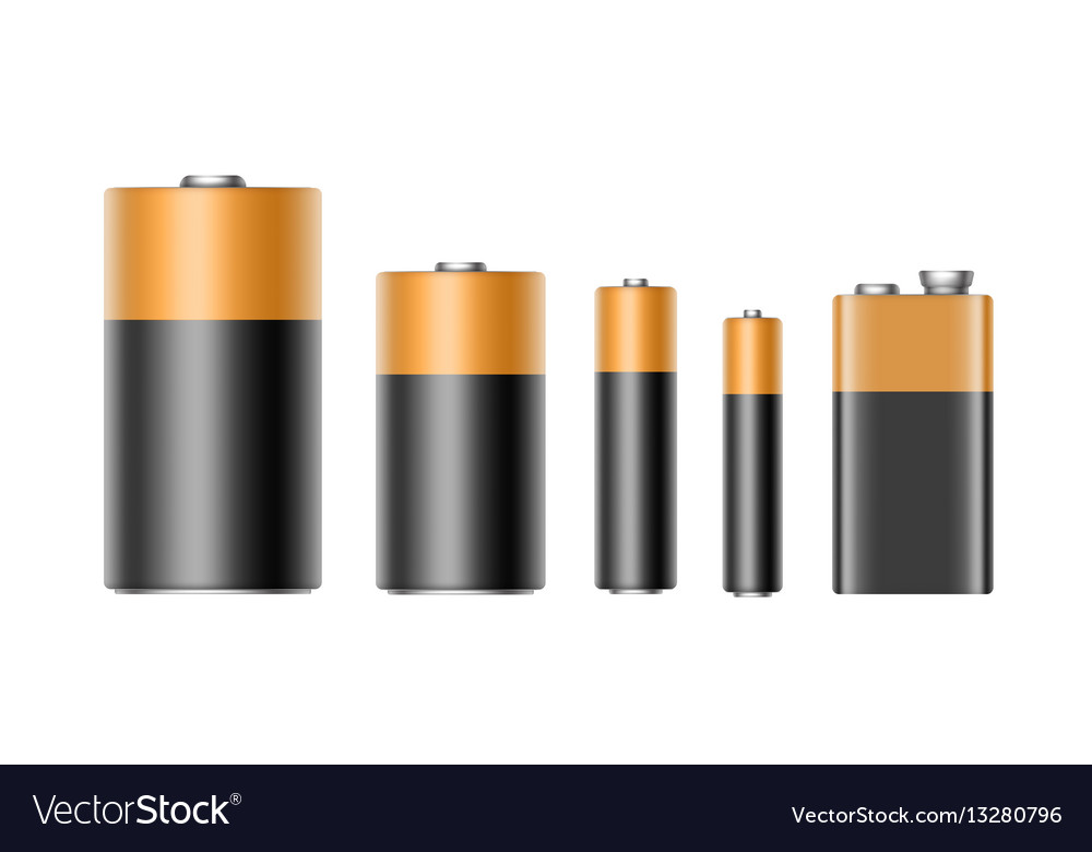 Set of alkaline batteries and 9 volt battery vector image