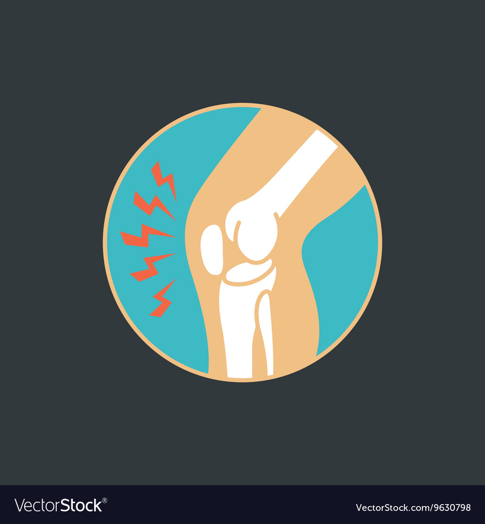 Symbol of knee joint bones for orthopedic vector image