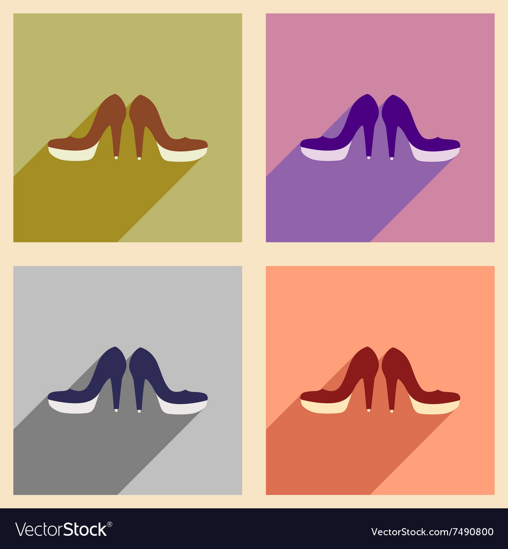 Set of flat web icons with long shadow women shoes