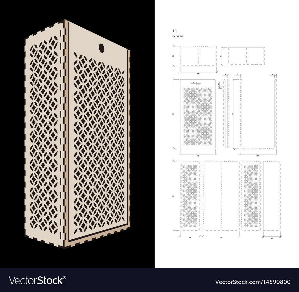 Cut out template for wine box vector image
