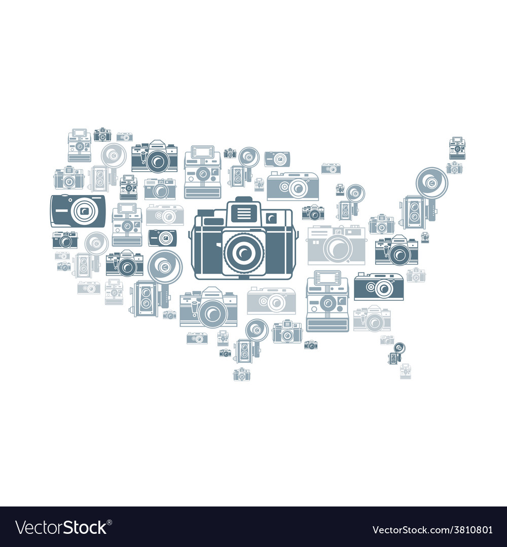 Retro photo cameras in USA shape vector image