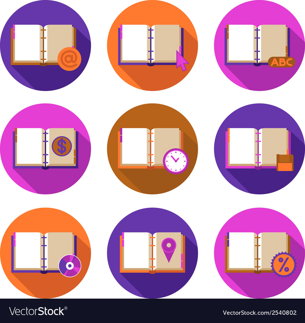 Books and symbols flat icons set vector image