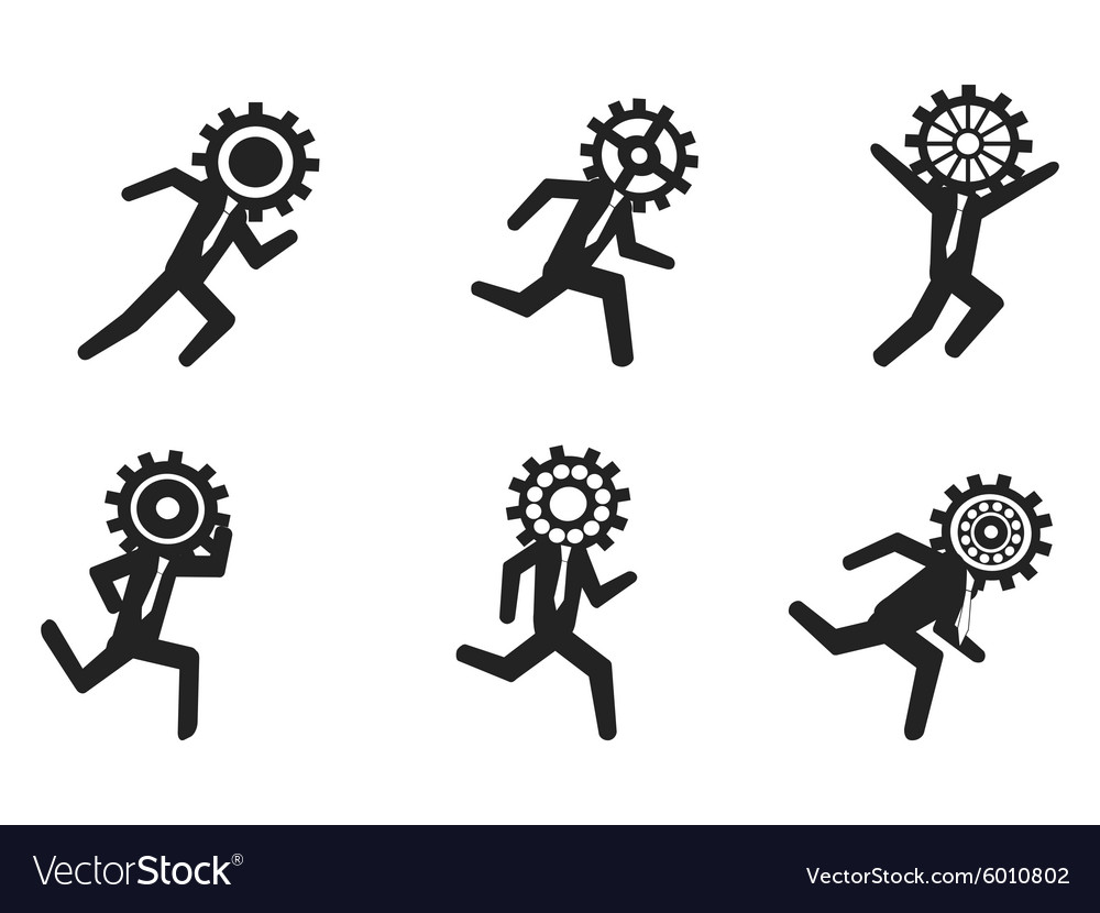 Running businessman with gear head vector image