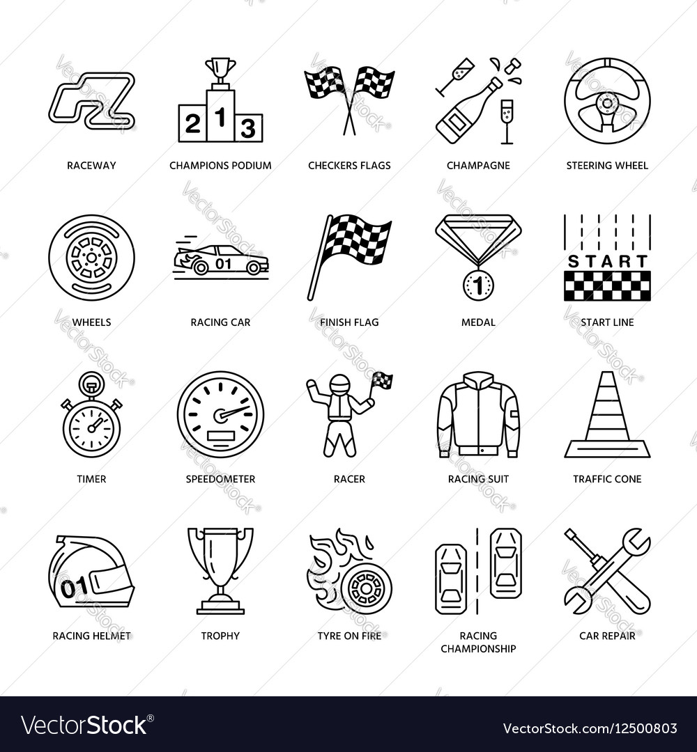 Car racing line icons Speed auto vector image