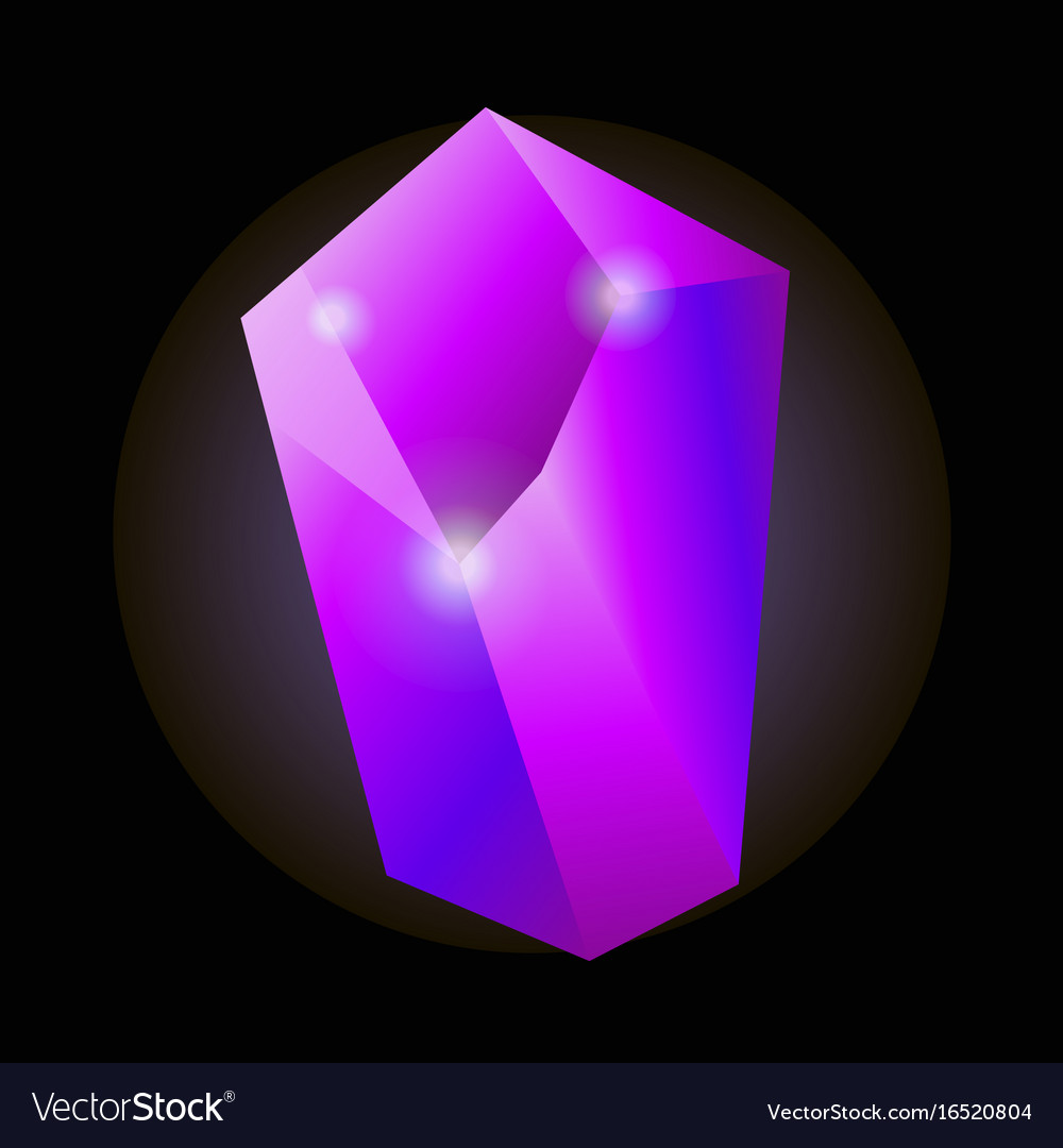 Shiny purple natural crystal with luminescent vector image