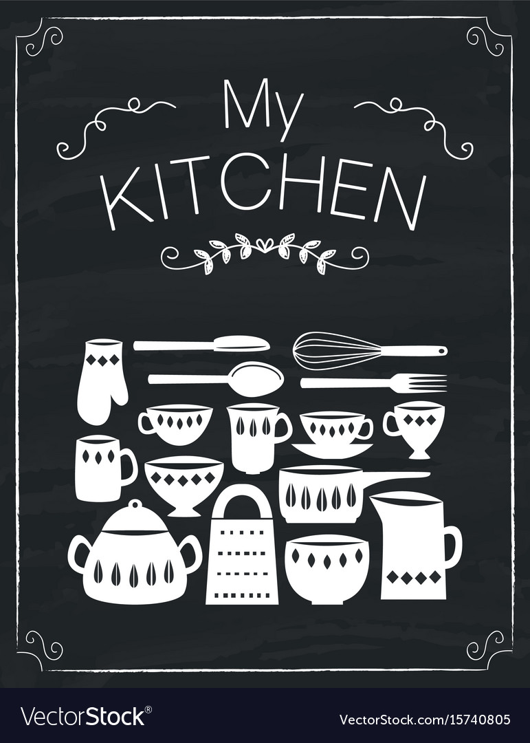 Kitchen tools doodle on the black board vector image