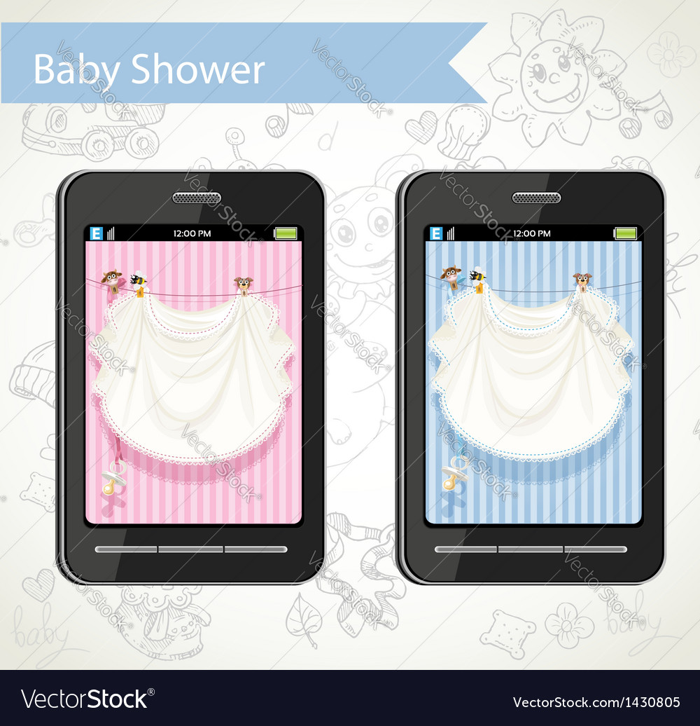 Smart phone with a baby shower cards to choose vector image