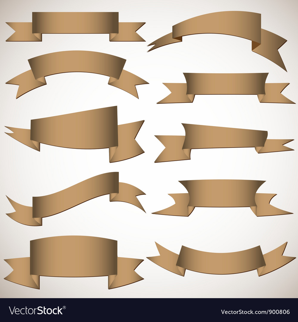 Origami banners and ribbons vector image