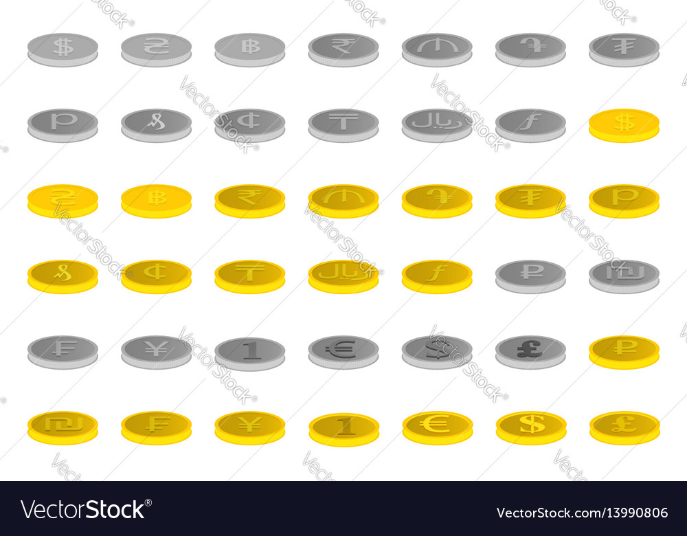 Set of forty two icons of gold and silver vector image