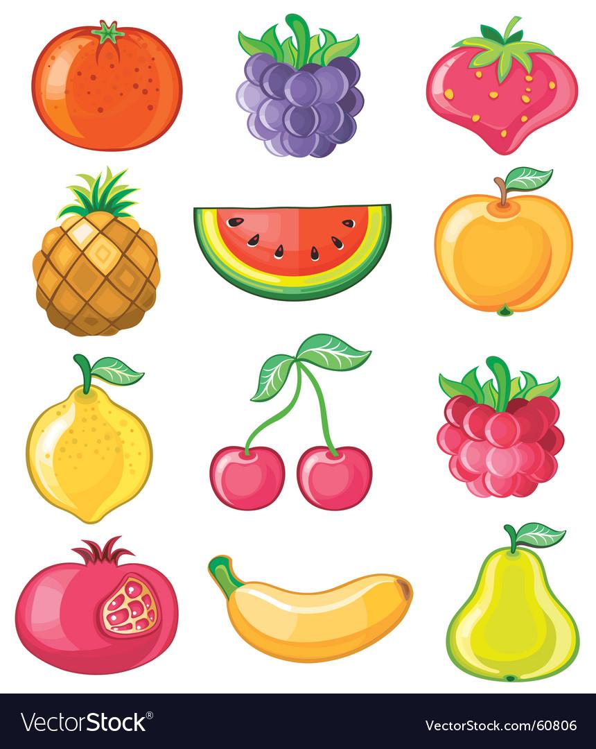 Set of juicy fruit vector image