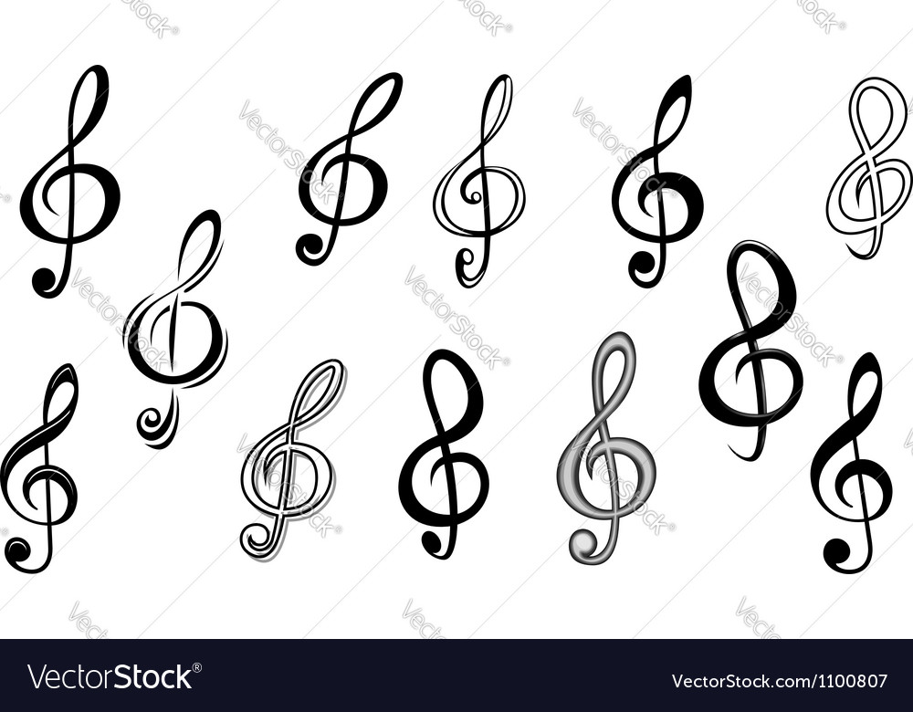 Music note keys Vector Image