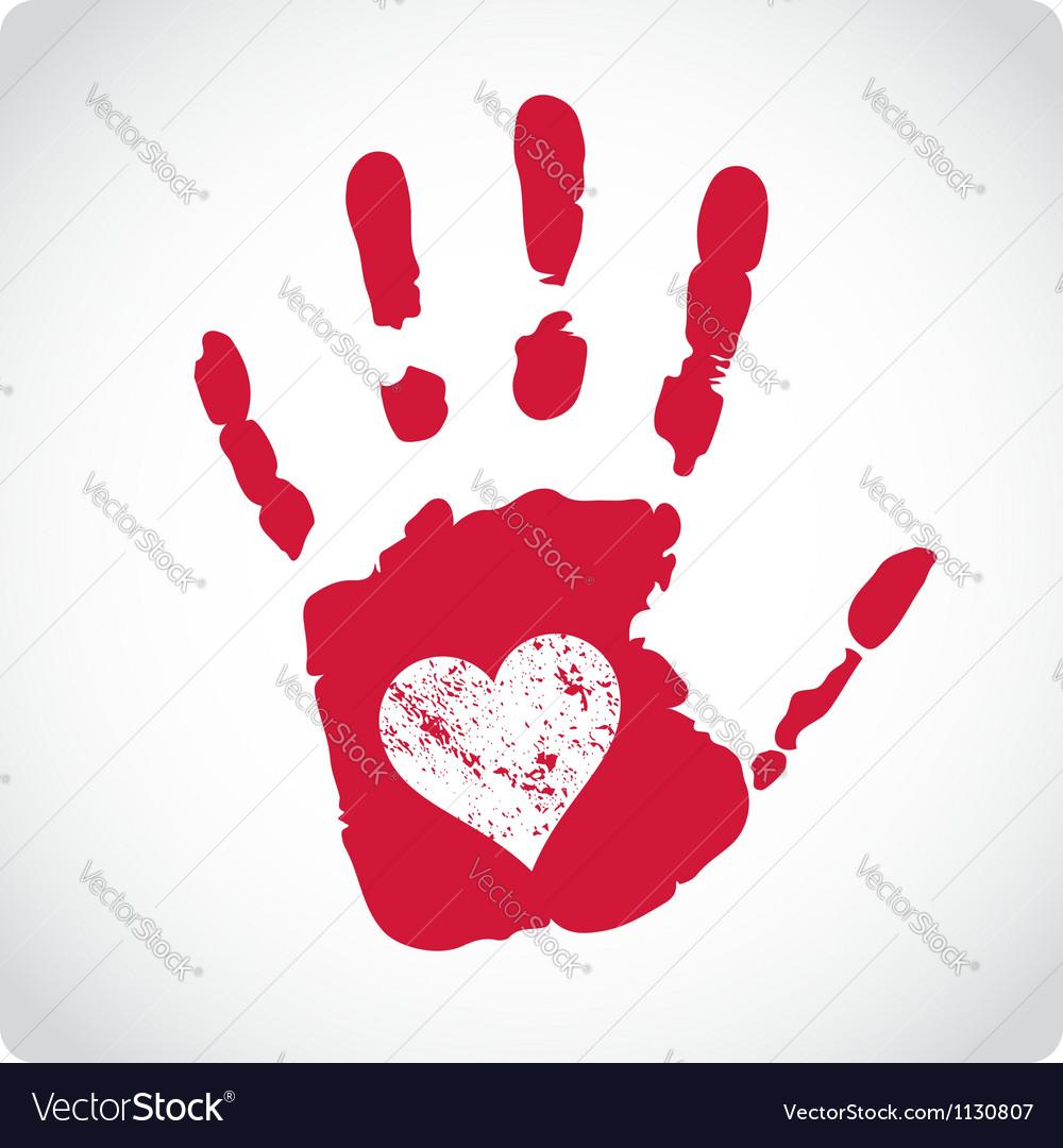 Romantic Valentine postcard with handprints vector image