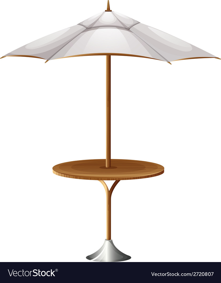 Great A Table With A Beach Umbrella Vector Image