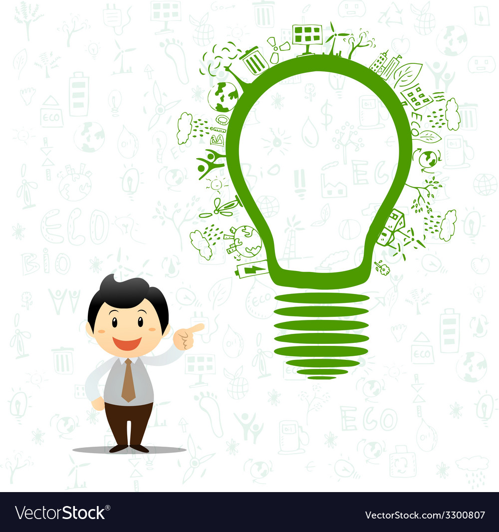 Light bulb idea with creative drawing environment vector image