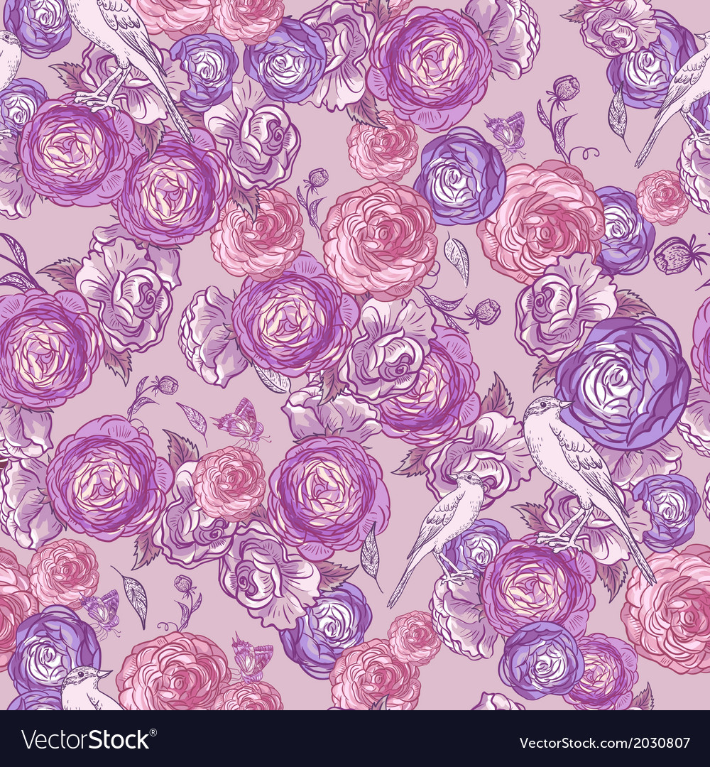 Seamless Rose Background with Birds vector image