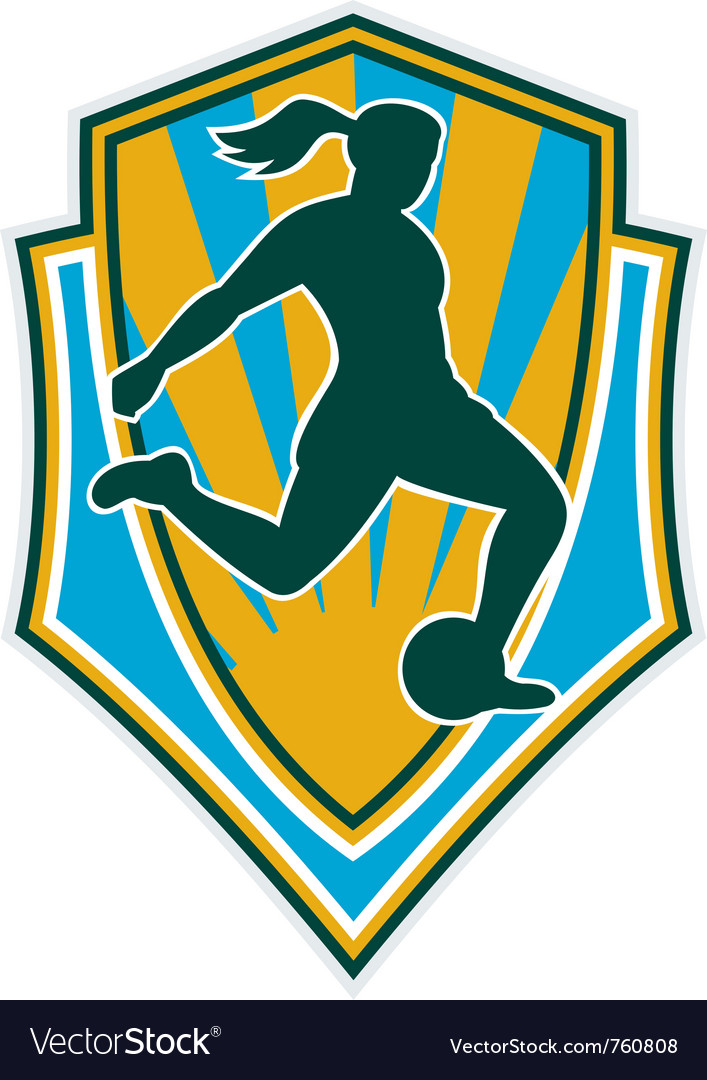 Woman girl playing soccer kicking Vector Image