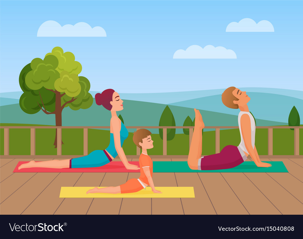 Parents with girl kid does yoga various exercises vector image