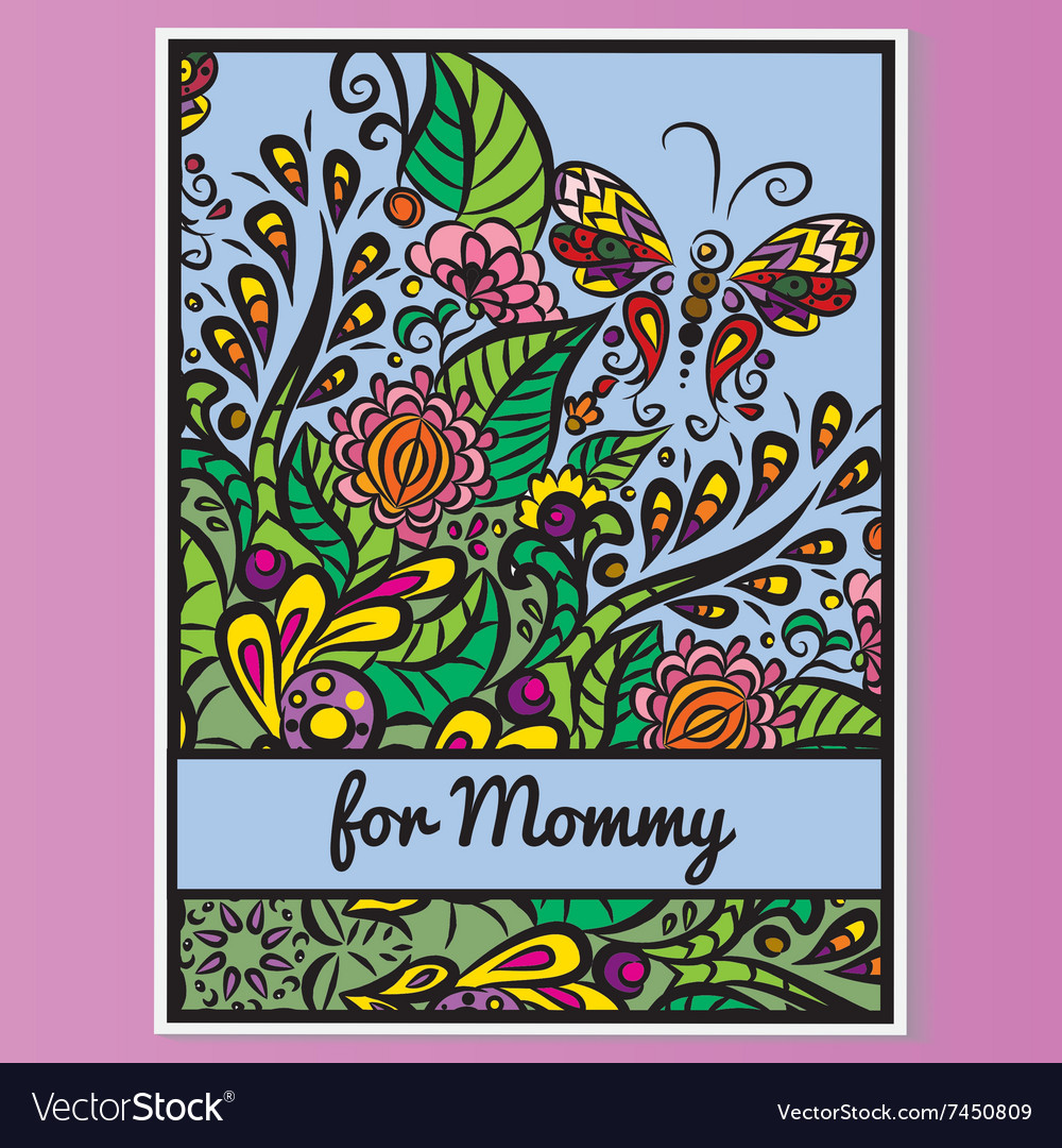 Card Mother day Pink background vector image