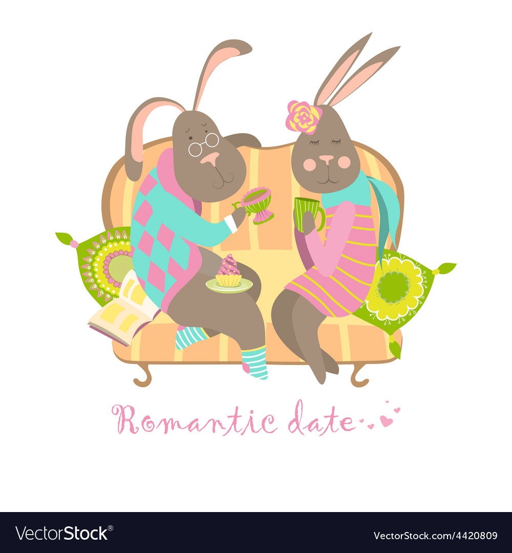 Cute bunnies in love vector image