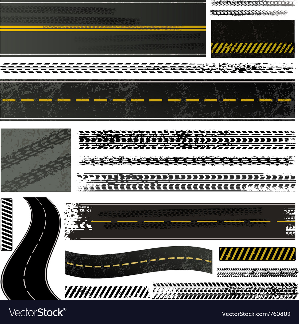 Road and tire tracks vector image