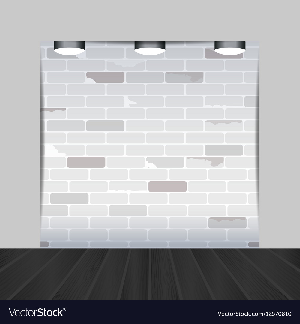 empty room with brick wall and black wooden floor vector image