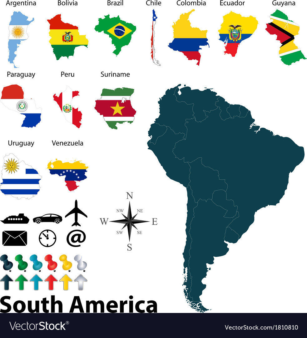 Maps with flags of South America vector image