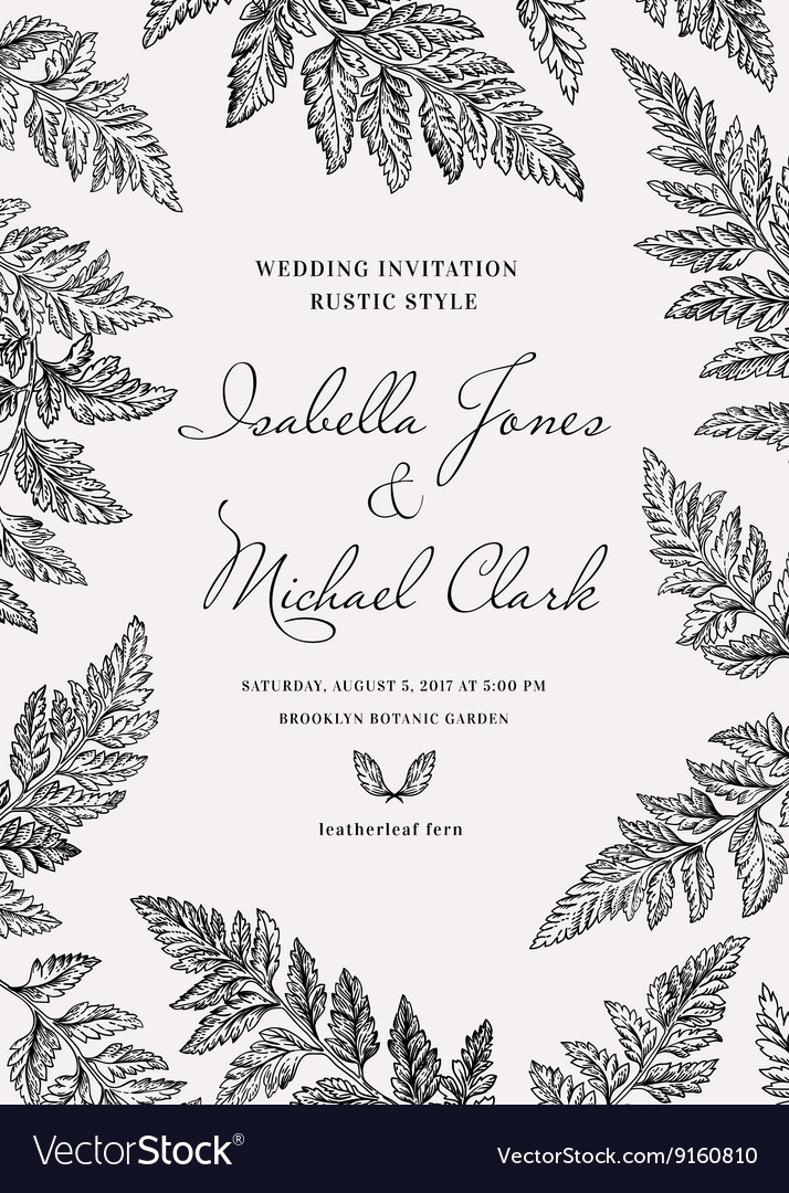 Vintage wedding invitation in a rustic style vector image