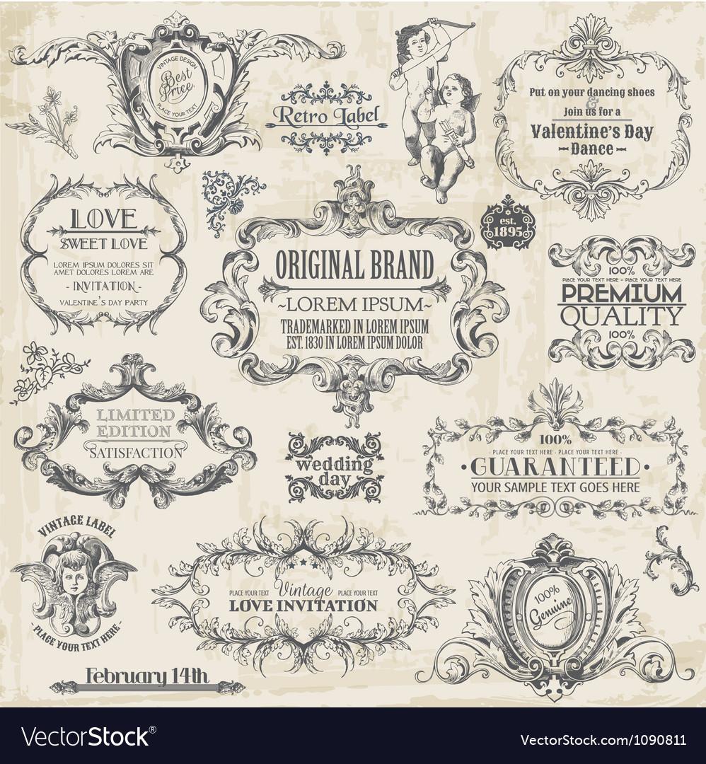 Calligraphic Design Elements vintage set vector image