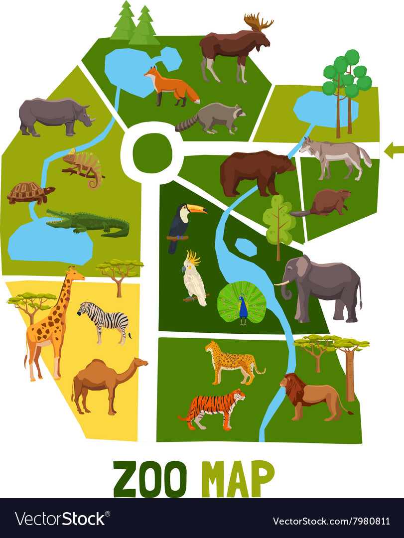 cartoon zoo map with animals royalty free vector image