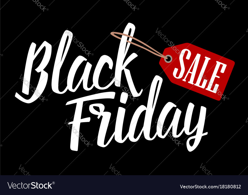 Lettered text black friday with hanging sale tag vector image