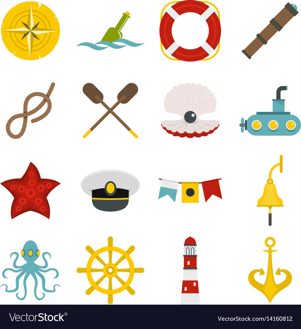 Nautical icons set in flat style vector image