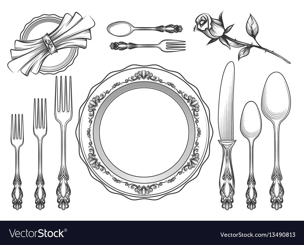 Vintage food service equipment sketch vector image