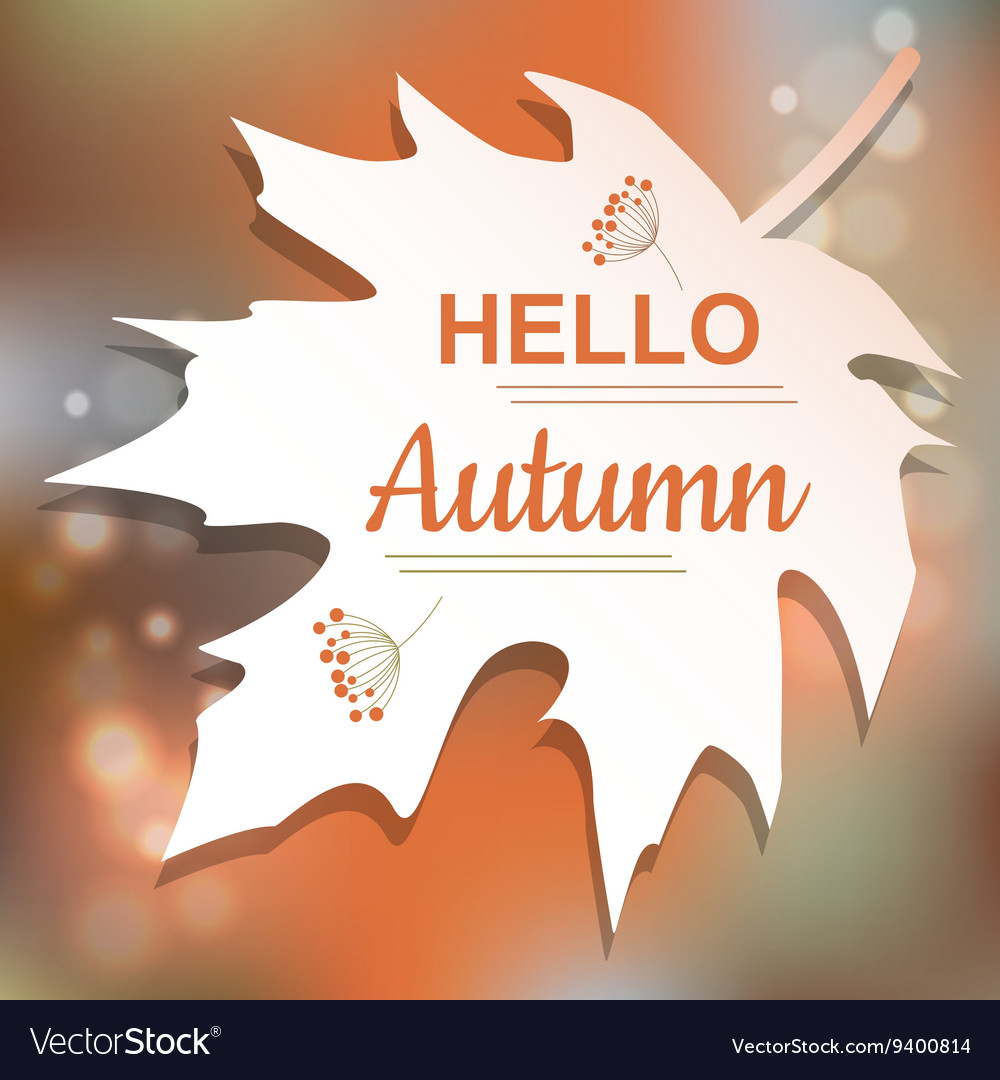 Hello Autumn orange card design vector image