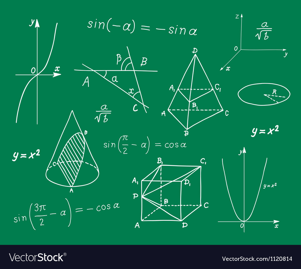 Mathematics sketches on school board vector image